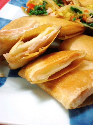 Cured Ham and Cheese Spring Rolls