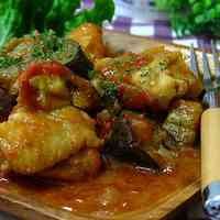 Eggplant and Chicken Braised in Tomato Sauce