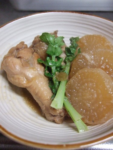 Chicken Drumsticks & Daikon Radish Simmered with Miso & Soy Sauce