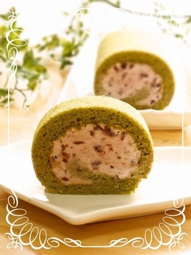 Moist Fluffy Green Tea Chiffon Swiss Roll