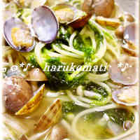 Ocean-Scented Soup Pasta with Clams and Aosa Seaweed