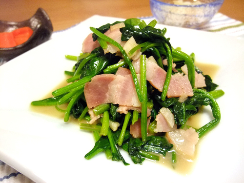 Spinach and Bacon Sauteed in Butter