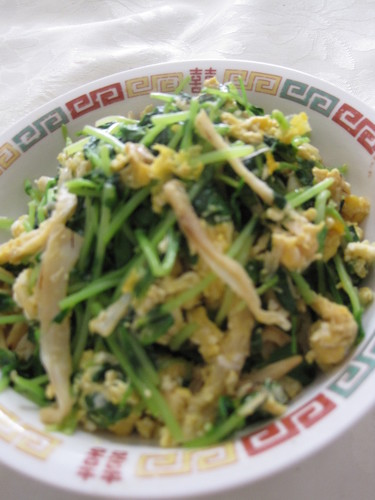 Stir Fried Pea Shoots, Shredded Dried Squid and Scrambled Egg