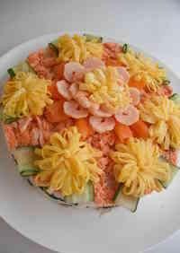 Flower Field Chirashi Sushi Cake