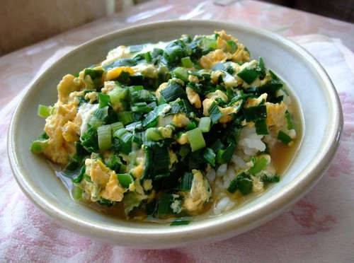 Chinese Chive and Egg Rice Bowl with Tons of Sauce
