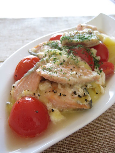 Salmon and Potato Simmered in Yogurt
