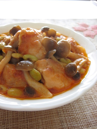 Chicken and Shimeji Mushrooms Simmered In Tomato and Yogurt Sauce