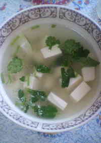 Authentic Chinese Cilantro Tofu Soup