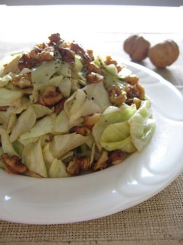 Stir Fried Cabbage and Walnuts with Lemon Butter