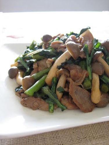 Pork and Shungiku Chrysanthemum Greens Brown Sugar Stir-Fry