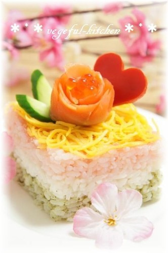 Easy Square-Shaped Chirashizushi and Cup Sushi For Girl's Day