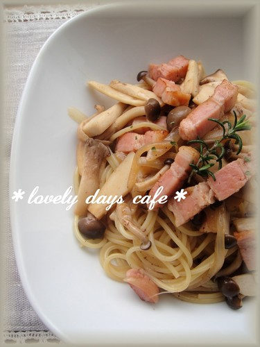 Japanese-Style Pasta with Mushooms and Bacon