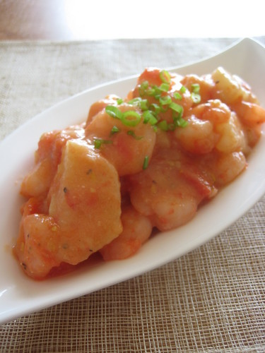 Japanese-Style Simmered Shrimp and Nagaimo Yam with Tomatoes