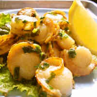 Baby Scallops with Green Onions and a Salty, Lemon Sauce