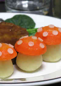 Alice in Wonderland-Style Toadstools with Side Vegetables