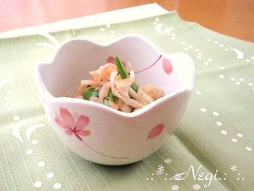 Stir Fried Kiriboshi Daikon with Snow Peas and Sakura Shrimp
