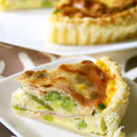Spring Color Beans and Cured Ham Quiche