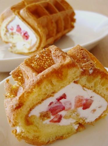 Fluffy Waffle Roll Cake
