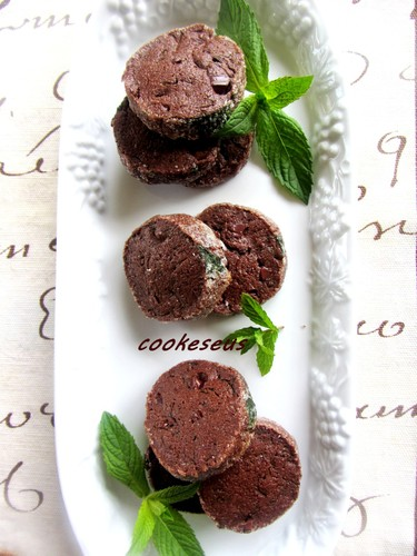 Chocolate Cookies with Lots of Fresh Mint