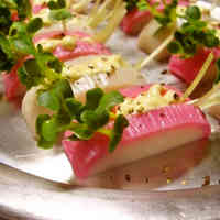 Kamaboko Fish Cake Sandwiches with Daikon Sprouts