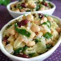 Spring Vegetables Steamed with Ume Plums - A Colorful Ume Plum Bean Salad