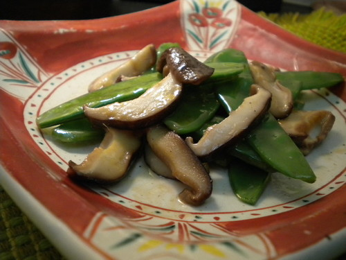 Butter-Soy Sauce Stir-fry with Snow Peas and Shiitake