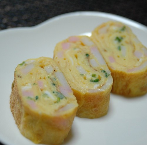 Rolled Omelette with Kamaboko Fish Cakes and Green Onions for Lunchboxes