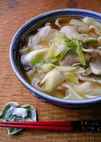 Kishimen Noodles with Pork Lots of Garlic