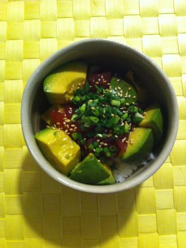 Asian Style Avocado and Fresh Tuna Rice Bowl
