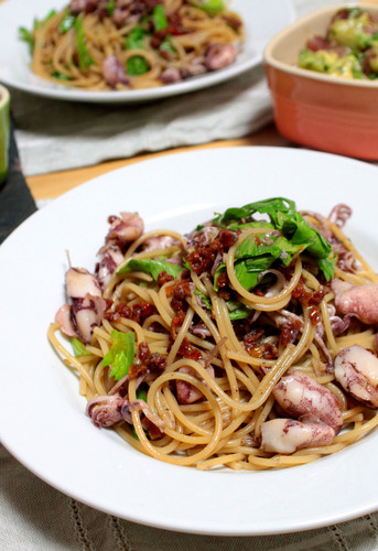 Homemade Dried Tomatoes and Firefly Squid Pasta
