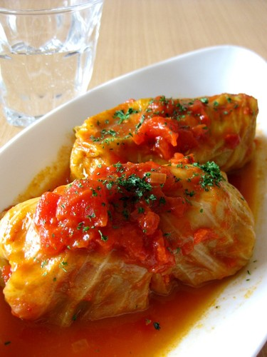 Cabbage Rolls Simmered in Tomato Sauce