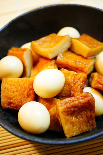 Sweet and Salty Simmered Satsuma-Age and Quail Eggs