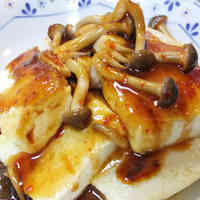Tofu Steak with Silky Spicy Shimeji Mushroom Sauce