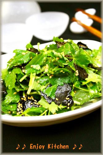 Easy Mitsuba and Nori Seaweed Salad