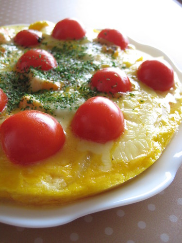 Omelette with Lots Of Onions and Salmon