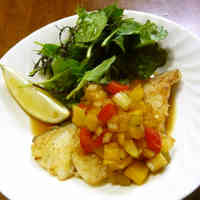 Pan Fried White Fish with Colorful Sauce