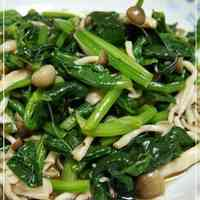 Spinach and Shimeji Mushrooms with Garlic Soy Sauce