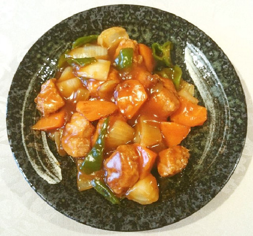 Non-Fried Sweet and Sour Pork with Cubed Meat