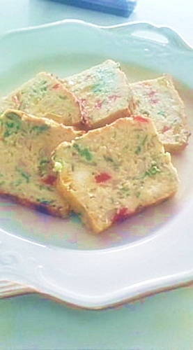 Okara Cake Salé with Mushroom and Tuna