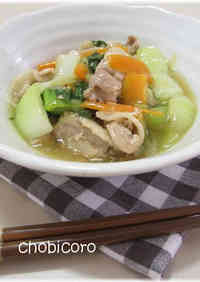 Pork Belly and Bok Choy Stir-fry in Thickened Sauce