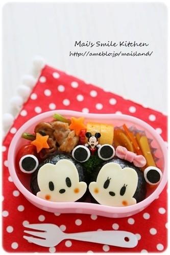 Mickey and Minnie Onigiri Character Bento