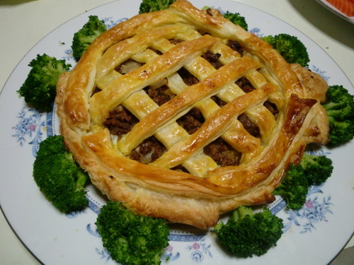 Meat Pie with Mozzarella Cheese