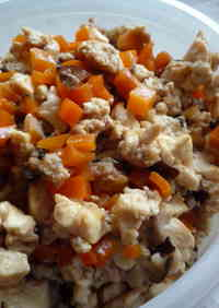Scrambled Firm Tofu and Chicken