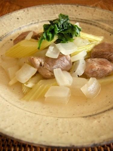 Pig Shoulder Roast and Celery Simmered in White Wine Vinegar