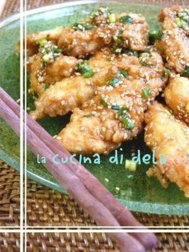 Fried Chicken Tenders With Oyster-Ketchup Sauce, Green Onion and Sesame