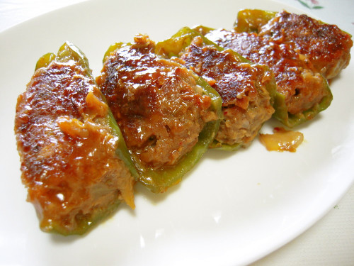 Kimchi Makes This Surprisingly Delicious!  Stuffed Green Peppers