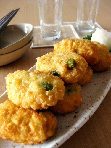 Light and Fluffy Fritters With Edamame and Camembert Cheese