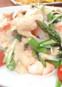 Prawn & Raw Asparagus Salad with Sesame Dressing