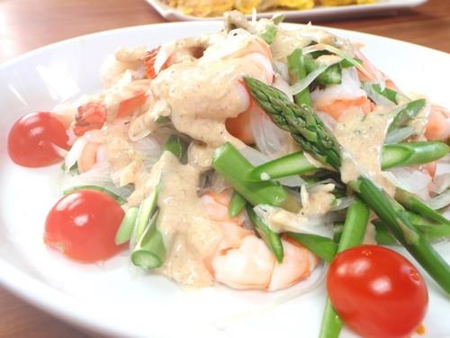 Prawn & Raw Asparagus Salad with Sesame Dressing
