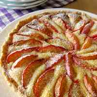 Almond Cheese Tart with Plums